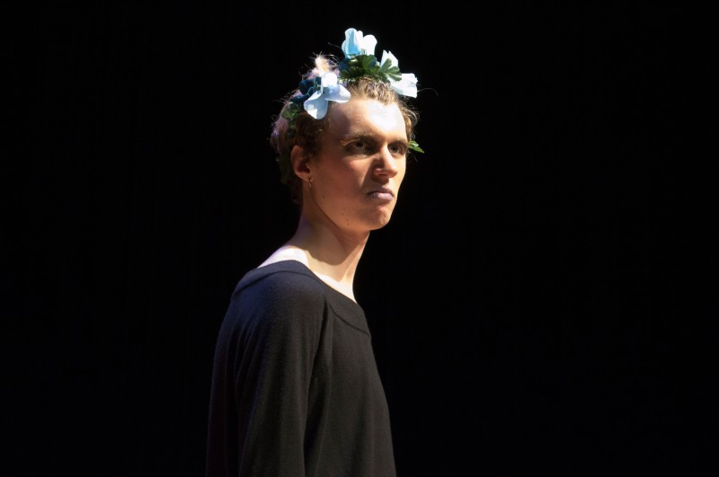 """Freshman, Jonathan Wiechecki, performed in a Maryland Shakespeare Players adaption of """"A Midsummer Night's Dream"""" in the Cafritz Foundation Theatre of the Clarice. The play was performed in the style of Glasgow Citizen Theatre's Queer Shakespeare. Jonathan played Hermia, Mustardseed, and Flute. (Cassie Osvatics/Bloc Reporter)"""