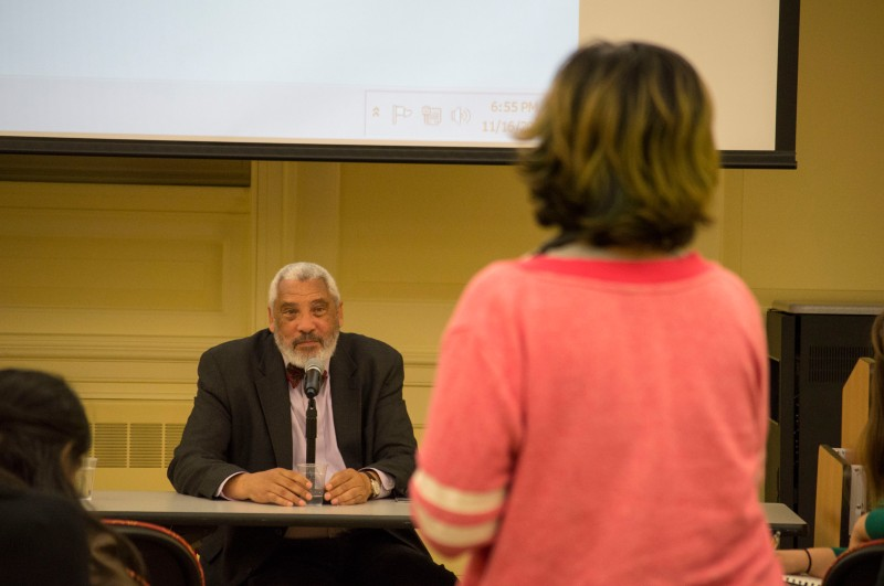 Reverend Graylan Scott Hagler, a long-time activist in D.C. answering questions during a Q&A session at From #Palestine2Ferguson in the Special Events Room at McKeldin Library.(Cassie Osvatics/Bloc Reporter)