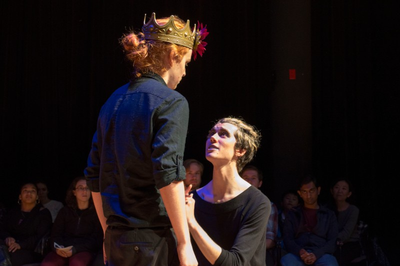 "Senior broadcast journalism major, Jack Angelo (left), and freshman, Jonathan Wiechecki (right), performed in a Maryland Shakespeare Players adaption of ""A Midsummer Night's Dream"" in the Cafritz Foundation Theatre of the Clarice. The play was performed in the style of Glasgow Citizen Theatre's Queer Shakespeare. Jack portrayed the characters Oberon, Theseus, and Peter Quince and Jonathan played Hermia, Mustardseed, and Flute. (Cassie Osvatics/Bloc Reporter)"