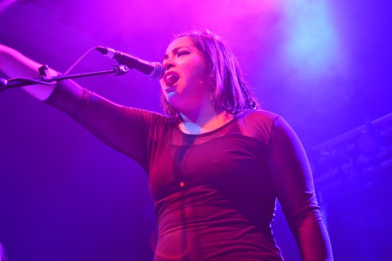 Vocalist and guitar player, Jaqueline Morgia, of the Talking Heads cover band Psycho Killers during their performance at 9:30 club. (Cassie Osvatics/Bloc Reporter)