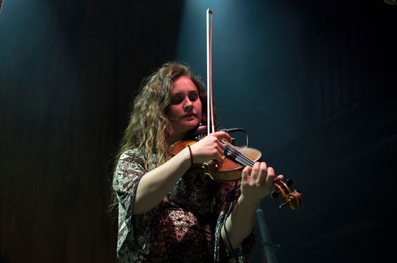 Bridget Law, fiddle and vocals for inde folk band, Elephant Revival. The band opened up for Josh Ritter and The Royal City Band at 9:30 club. (Cassie Osvatics/Bloc Reporter)