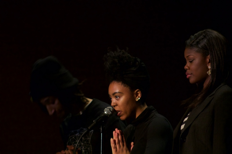 Senior Alexandra Fitch was joined by friends during her performance, joining hands with Kosi Dunn (left) and Samaria Cooper (right).