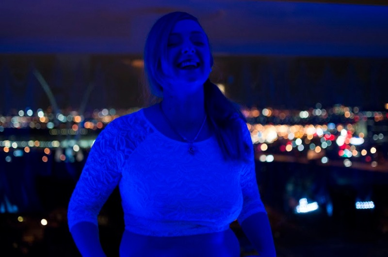 Domina Vontana at a Northern Virgina hotel, overlooking DC, where she hosted a New Year's party. (Cassie Osvatics/Bloc Reporter)