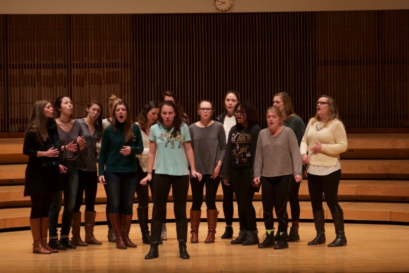 Singers from UMD Treblemakers, an all girls a cappella group, perform Elastic Heart, by Sia. Photo courtesy Bloc reporter Julia Learner.