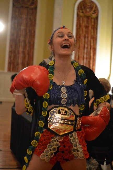 Talia Hoch (Community and Behavioral Health) celebrating a job well done as the judges deliberate her second place win. (Joe Duffy/Bloc Reporter)