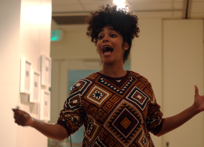Poet and spoken word performer Elizabeth Acevedo hosted TOTUS' event Mixed Monologues event and performed several pieces of her own on March 3, 2016 in College Park, Md. (Jack Angelo/Bloc Reporter)