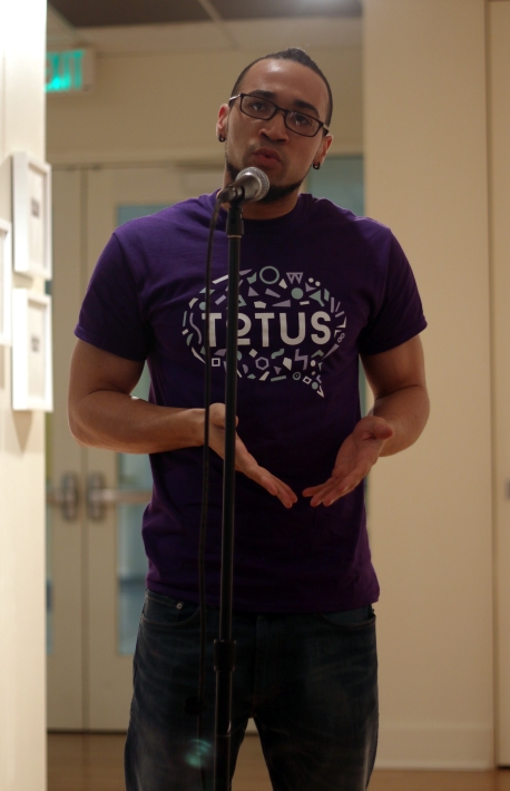 Sophomore Christopher Cox talks about his experience with light-skinned stereotypes at TOTUS' Mixed Monologue event on March 3, 2016 in College Park, Md. (Jack Angelo/Bloc Reporter)