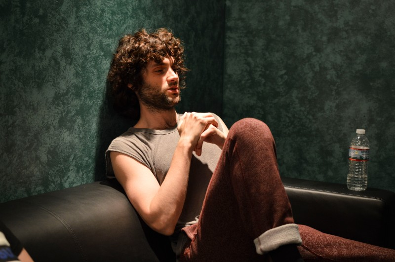 Penn Badgley, lead vocals of MOTHXR, during an interview backstage at 9:30 Club. (Cassie Osvatics/Bloc Reporter)