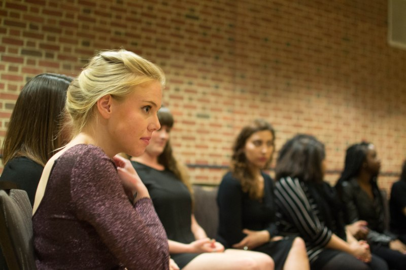Sarah Schurman (sophomore, English major) fielding questions in a post-discussion panel. (Joe Duffy/Bloc Reporter)