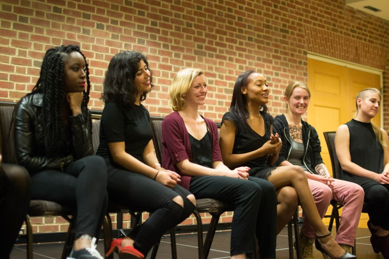 [Left to right] Sierra Decker (Senior, Community Health major), Pegah Maleki (UMD student), Erin Kemp (Junior, Animal Science major), Amber Ebanks (Junior, Multiplatfor Journalism/Latino Studies major), Dani Gisselbeck (Senior, Romance Language major), Brittany Hamson (Senior, Criminology & Criminal Justice/Women's Studies major). All sitting on a panel following their production of the Vagina Monologues. (Joe Duffy/Bloc Reporter)