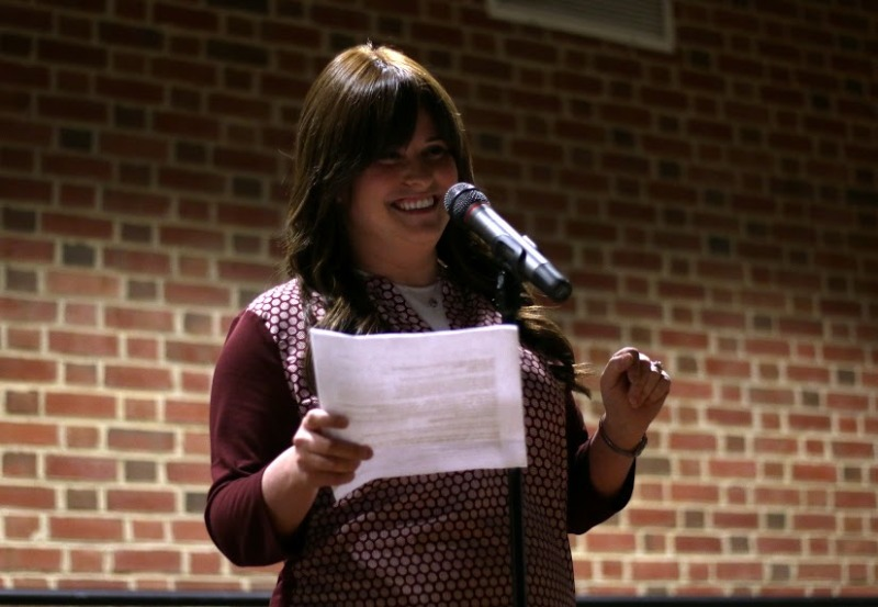 Maryland Hillel Torah Educator Shira Neuman reads about womanhood in Judaism during the Sermon Slam in Stamp on April 3, 2016. (Jack Angelo/Bloc Reporter)