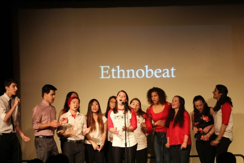 Ethnobeat, an a-capella group on campus, performed a Spanish song for the Syrian Refugees Benefit Concert. (Julia Lerner/Bloc Reporter)