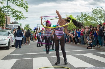 Members of Nubian Spin, an exotic hula hoop performance group based in D.C. (Cassie Osvatics/Bloc Reporter)