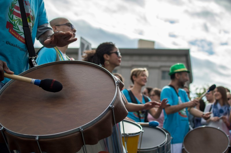 Drummers from the Vavá United School of Samba impress as they march through the Funk Parade. (Cassie Osvatics/Bloc Reporter)