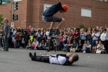 D.C. Skate performs tricks at the D.C. Funk Parade. (Cassie Osvatics/Bloc Reporter)