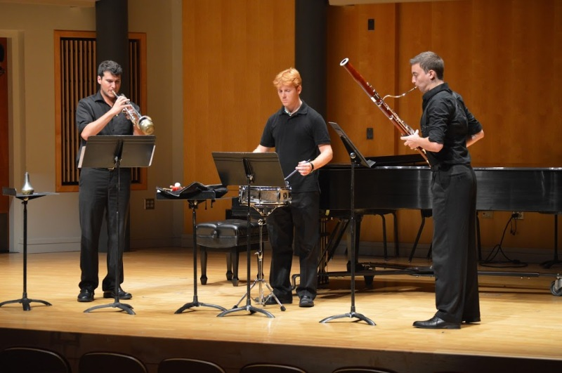 "Students perform Bradley S. Green's ""Trailing..."" Pictured from the left: Frank Stroup, ; Christian Clark, ; Ronn Hall, ."