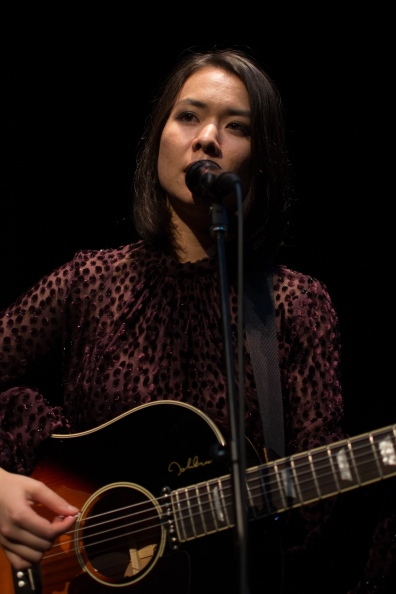 A graceful Mitski plays to a hushed room. Her guitar and her voice eclipsing the distant sounds of glasses clinking and the clack of camera shutters. (Joe Duffy/Bloc Photographer)