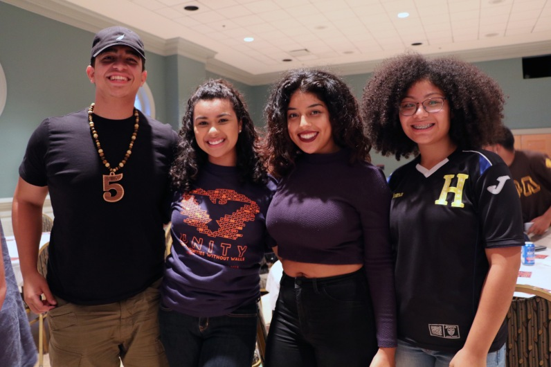 Juniors Monica Santos, Denise Gaona, Annyi Santos, and Mike Fernandes at the Latinx Heritage Month Opening in Stamp's Colony Ballroom, on Thursday, September 15, 2016. (Emilie Fluette/Bloc Photographer)
