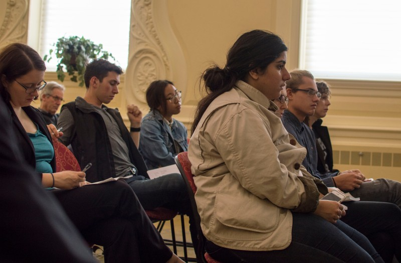 "Poet and recent recipient of a MacArthur ""Genius"" Grant Claudia Rankine meets with students in the special events room of McKeldin. When discussing the use of blank space in her book, ""Citizen: An American Lyric,"" Rankine stated that it gave readers ""time to think about what they wanted to think about...an associative step that moves you back to yourself."" (Cassie Osvatics/Bloc Photographer)"