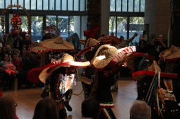 Each dancer wore a decorated sombrero and large masks. (Katrina Schmidt/Bloc Reporter)