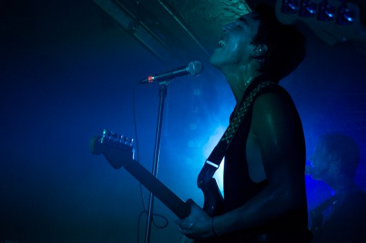 Christo Bowman, vocals and guitar of Bad Suns, gives an intense performance at Rock and Roll Hotel (Cassie Osvatics/Bloc Reporter)