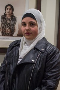 Manar Dajani, Senior, Business major. Standing in staunch, peaceful defiance of those who ask her to remove her hijab. (Joe Duffy/Bloc Photographer)