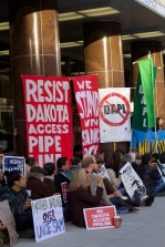 """Thousands of people showed up to the Stop Dakota Access March in Solidarity. Many brought signs, reading things like """"water is life,"""" """"People over pipeline,"""" """"you can't drink oil,"""" and phrases from their indigenous tribes. (Julia Lerner/Bloc Photographer)"""