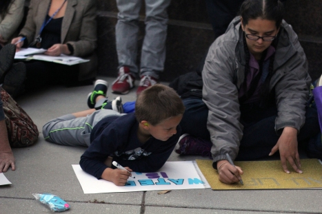 A number of protestors were, in fact, young children in attendance with their families. A number waved signs and chanted along with the families and the other protestors. (Julia Lerner/Bloc Photographer)