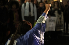 During the march, Eryn Wise,one of the organizers, would stop the marchers and would pray, or show solidarity with those in Standing Rock. (Julia Lerner/Bloc Photographer)