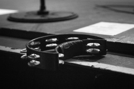A tambourine sits on the edge of the stage during Third Eye Blind's concert at the FIllmore Silver Spring on Dec. 9. (Casey Tomchek/Freelance Photographer)