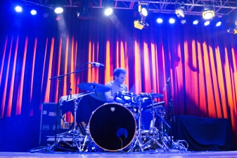The drummer for Wrabel performs at the Fillmore Silver Spring on Dec. 9. (Casey Tomchek/Freelance Photographer)