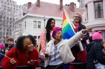 LGBTQIA protesters shout encouragements towards others who are marching. (Heather Kim/Bloc Photographer)