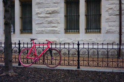 A single pink bicycle left on a fence by the march. (Heather Kim/Bloc Photographer)