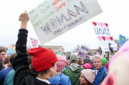 "Many attendees wore ""pussy hats,"" knitted pink hats intended to reclaim the often derogatory term ""pussy."" (Katrina Schmidt/Bloc Reporter)"