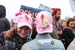 Attire adorned with female genitalia was common at the march. (Katrina Schmidt/Bloc Reporter)