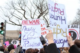 """Nasty woman,"" President Trump's insult to former opponent Hillary Clinton, was used a rallying cry at the march. (Katrina Schmidt/Bloc Reporter)"