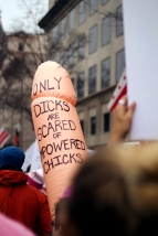 While many brought signs to the march, others brought physical objects. One individual brought a large, inflatable penis in order to convey their message. (Julia Lerner/Bloc Photography Editor)