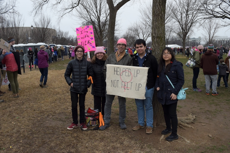 (Left to right) Jane Springer, 47, Morrison Powell, 13, John Powell 48, Minh Nguyen, 21, and Araseli Mendez, 21, traveled together from Clint, NY. (Maya Pottiger/Editor-in-Chief)