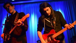 Us And Us Only vocalist and lead guitarist Kinsey Matthews plays alongside fellow guitarist Dan Windsor as the group plays their set at Baltimore's Metro Gallery Sunday, Jan. 29, 2017. (Jordan Stovka/Bloc Reporter)