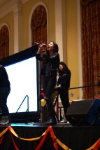 The lead singer of Naga, a band based in Philadelphia, entertained the room with covers of some Lady Gaga along with some Chinese pop. (Heather Kim/Bloc Photographer)