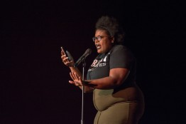 "Breonna Massey performs her pieces ""I Am Maryland"" and ""Black Girl Magic"" during Black Monologues in the Hoff Theatre. Massey is a junior government and politics major with a minor in law and society and was one of three hosts of the event. (Cassie Osvatics/Bloc Reporter)"