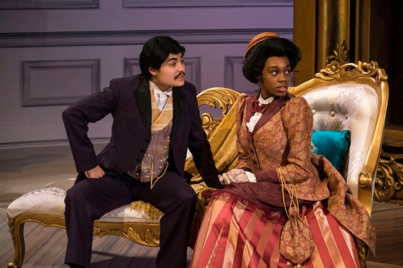 "Kristen El Yaouti (left) as John Worthing ""Jack"" and Alicia Grace (right) as Gwendolen Fairfax,  perform during the dress rehearsal for The Importance of Being Earnest in the Kogod Theatre. El Yaouti senior theatre performance and family sciences double degree and a Creative and Performing Arts Scholar and Grace is a third-year theatre major and Spanish and global poverty double minor. (Cassie Osvatics/Bloc Reporter)"