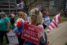 Deedee Dorrington (right) and Karen Ernst travelled from Boston, Mass. to show their support for President Trump. They stand in Farragut Square in Washington, D.C. on Saturday, March 27, 2017. (Josh Loock/Bloc Photographer)