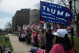 Attendees of the Make America Great Again March gather for a group picture in Farragut square in Washington D.C. Trump supporters from across the country gathered in The Capitol on Saturday to show their support for the President. (Josh Loock/Bloc Photographer)