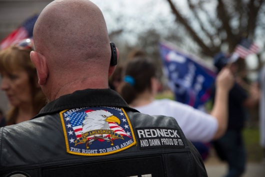 Bill Blevins travelled from Towson, Md., to show his support for President Trump. He came here with his wife, Tammy, and wears a leather jacket adorned with patriotic messages and patchwork in front of the White House on Saturday, March 25, 2017. (Josh Loock/Bloc Photographer)