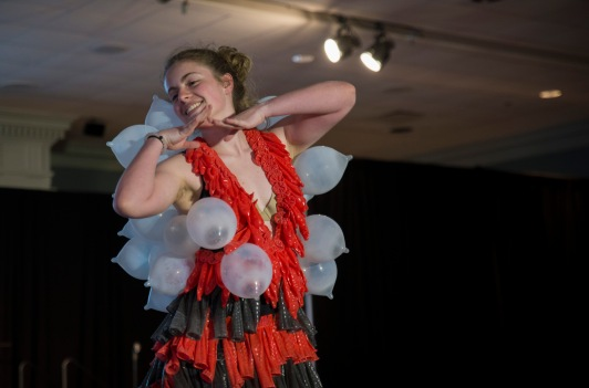 Catherine Cassell, a freshman physics and astroscience major, shows off her fashionable outfit made entirely from condoms. (Josh Loock/Bloc Photographer)