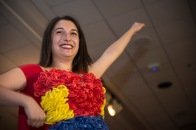 "Tara Saideman, a senior kinesiology major, sports her ""super"" themed condom outfit at the Condom Fashion Show on campus. (Josh Loock/Bloc Photographer)"
