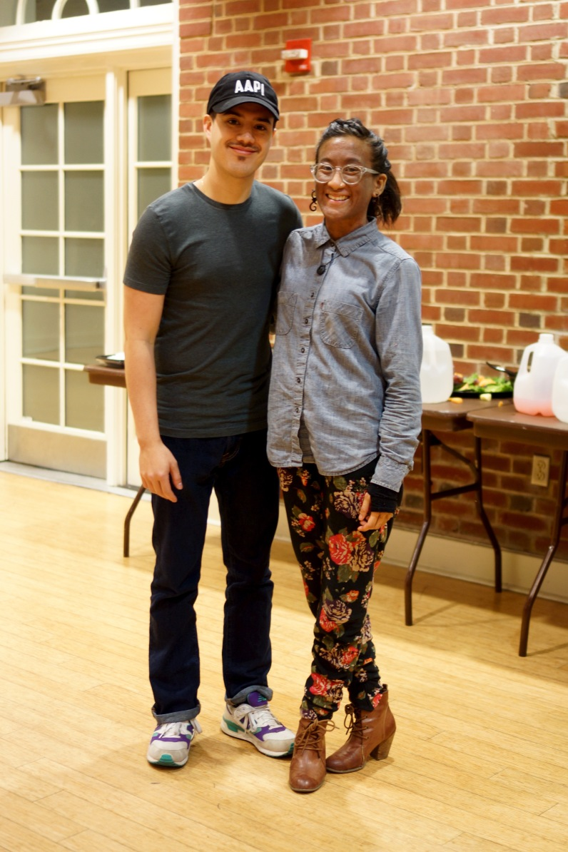 Benjamin Beltran, Graduate Coordinator for Asian Pacific American involvement at MICA, and Kai Kai Mascareñas, Coordinator for Asian American & Pacific Islander (AAPI) Student Involvement, pose for a photo after the performances. (Heather Kim/Bloc Photographer)