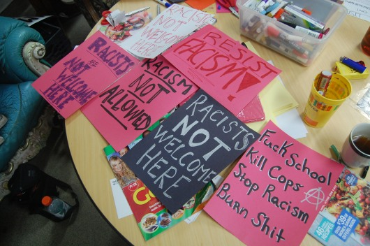 "Students and other members of College Park made posters as a response to the recent controversial white supremacist posters found on the university campus. One major theme expressed was ""Racists are not welcome here."" (Naomi Harris/Bloc Reporter)"