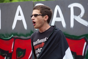 Nathan Feldman, a senior computer science and mathematics major at UMD, spoke about his own judaism and says the current treatment of Palestinians is not in accordance with the values of his faith. (Julia Lerner/Photography Editor)